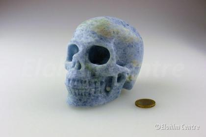 Blauwe Calciet menselijke schedel, human schedel