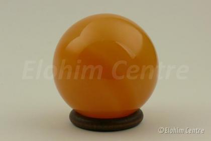 Calciet bol oranje  - Goddelijke Scheppingskracht, incl. houder