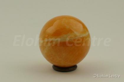 Calciet bol oranje - Goddelijke Scheppingskracht (L), incl. houten ring
