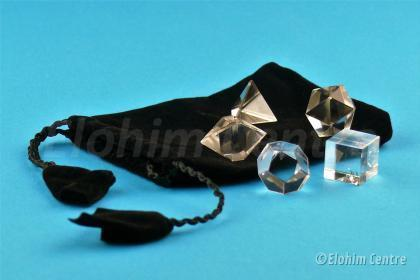 Bergkristal - de 5 geometrische vormen of platonische lichamen set