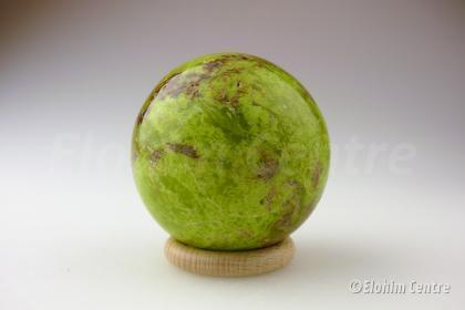 Groene opaal bol, incl. bolhouder