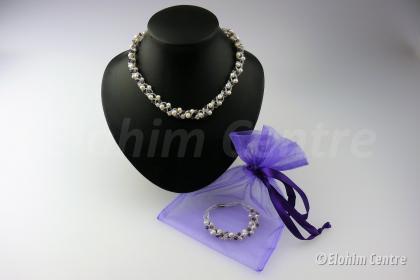 Sieraden pakket, amethist en parel - incl. paars cadeau  zakje