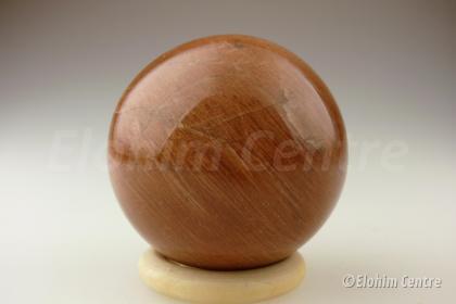 Roze Maansteen bol (perzikkleur) - incl houder