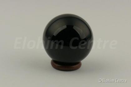 Zilver obsidiaan bol - incl. houten ring